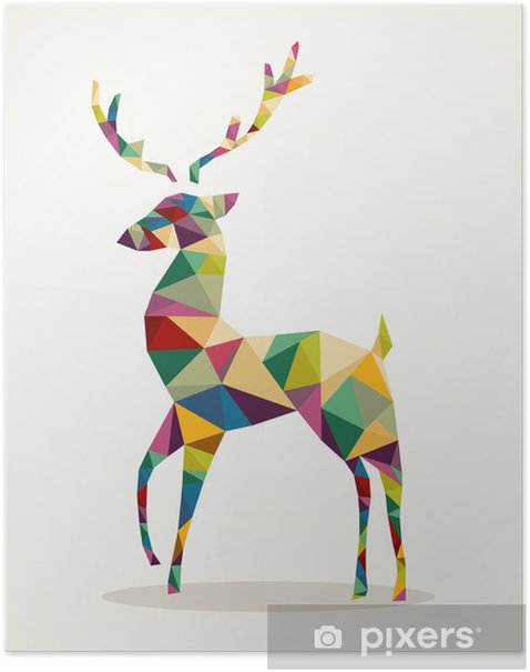 Merry Christmas trendy abstract reindeer EPS10 file. Poster -