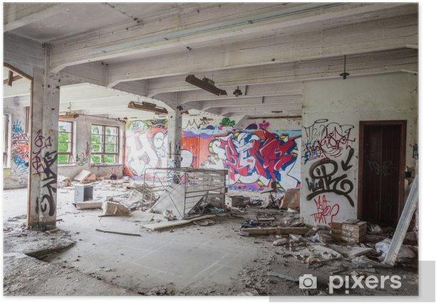 Poster Messy salle de l'usine abandonnée - Industrie lourde