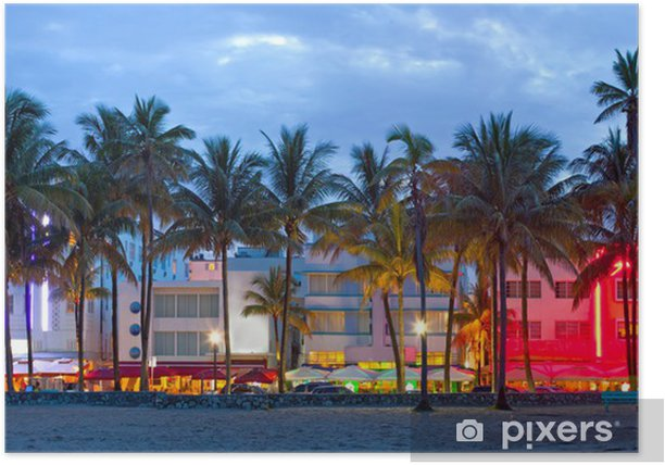 Miami Beach, Florida hotels and restaurants at sunset Poster - Palm trees