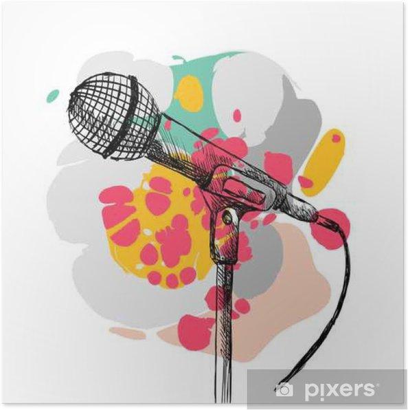 Póster Micrófono esbozo sobre un fondo blanco con manchas - Hobbies y entretenimiento