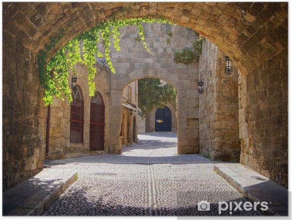 Poster Middeleeuwse gebogen straat in de oude stad van Rhodos, Griekenland - Stijlen