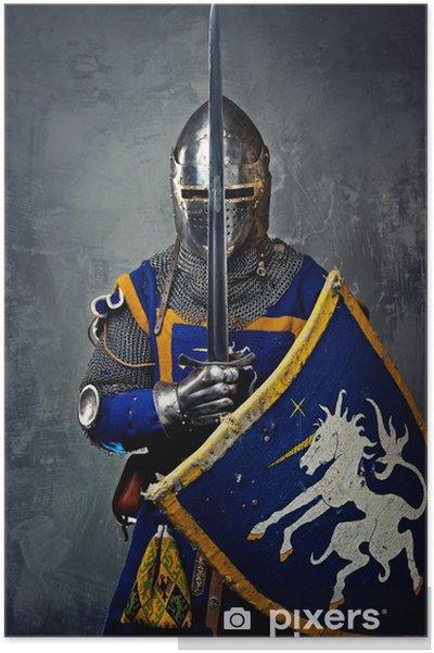 Poster Middeleeuwse ridder op een grijze achtergrond. - Ridders
