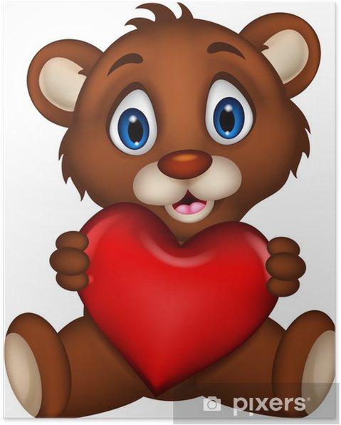 Poster Mignon Bébé Ours Brun Dessin Animé Posant Avec Amour De Coeur