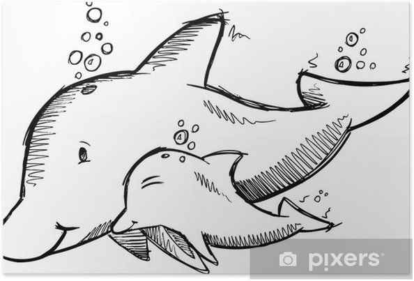 Poster Mignon Dolphins Sketch Vector - Animaux marins