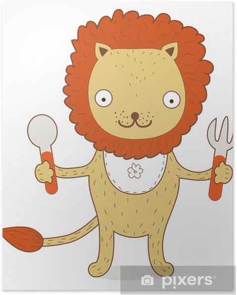 Poster Mignon Lion Cub veut manger quelque chose irritable - Mammifères