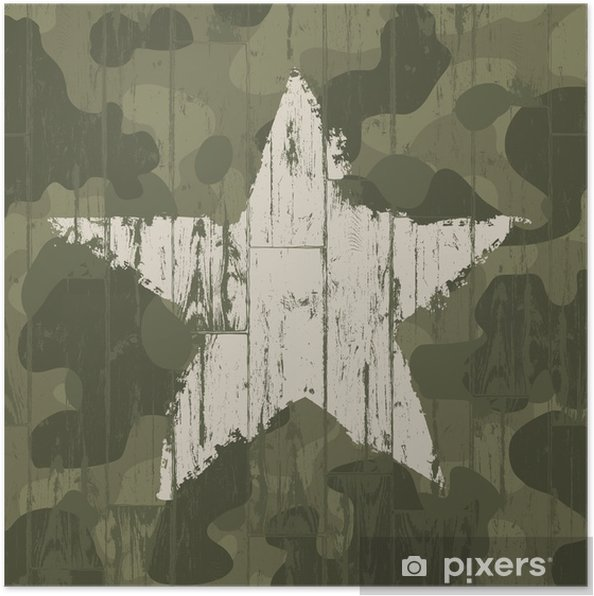 Poster Militaire camouflage achtergrond met ster. Vector, EPS10. - Thema's