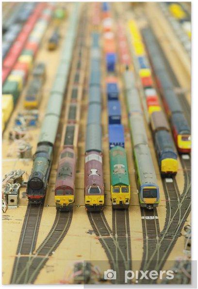 Poster Miniature cour pleine de trains de marchandises de modèle - Jeux