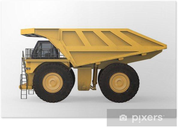 Poster Mining Truck jaune isolé - Matières premières