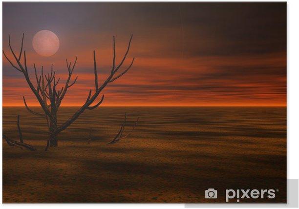 Poster Misty 3d nacht landschap - Andere Gevoelens