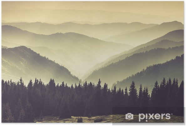 Misty mountain hills Poster - Landscapes