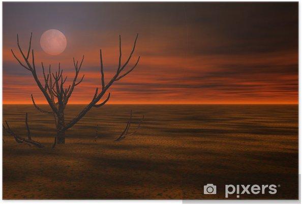 Poster Misty paysage de nuit 3d - Autres sentiments