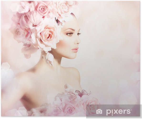 Poster Mode Beauty Model Girl with Flowers Haar. Bruid - Mode