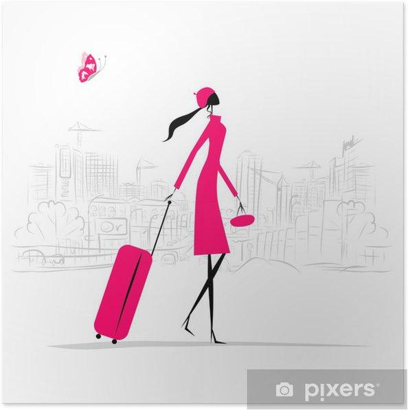 Poster Mode femme avec une valise, fond paysage urbain - Mode