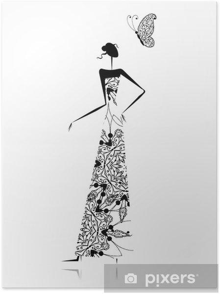 Trouwjurk Ontwerpen.Poster Mode Meisje Silhouet In Trouwjurk Voor Uw Ontwerp Pixers