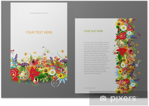 Poster Modèle de papier, dessin floral - Concepts