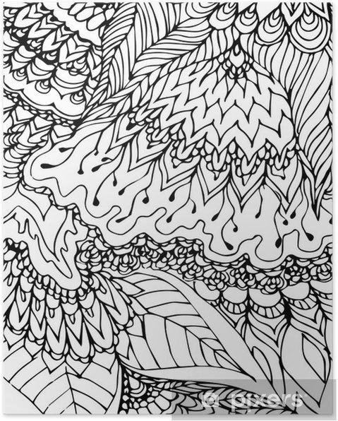 poster mod u00e8le noir et blanc  dessin doodle  motif tir u00e9 par la main  r u00e9sum u00e9 noir lignes  courbes