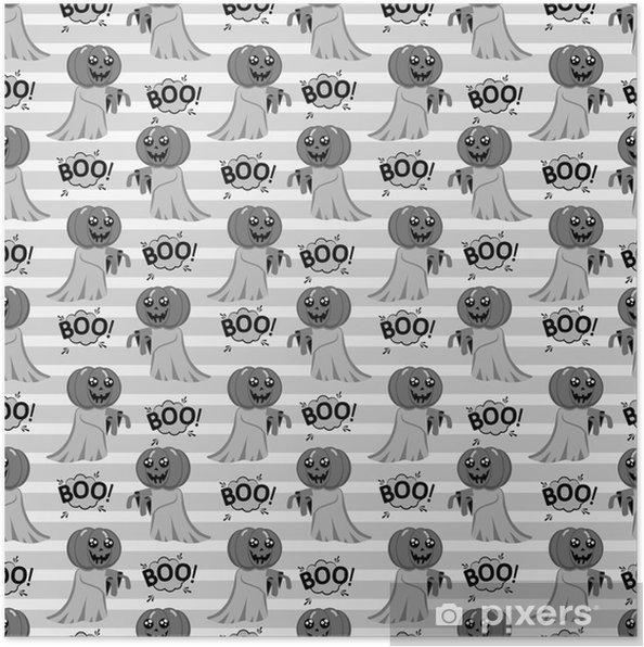Poster Modèle sans couture abstrait pour les filles ou les garçons. fond de vecteur créatif avec un joli fantôme avec une tête au lieu d'un halloween citrouille. fond d'écran drôle pour le textile et le tissu. style de mode. - Ressources graphiques