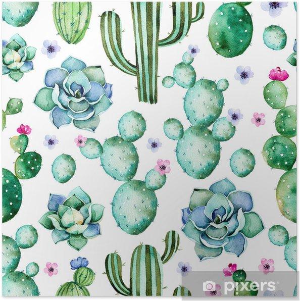 Poster Modèle Sans Couture Avec Des Plantes De Cactus Aquarelle De Plantes Succulentes Et De Fleurs Violettes Pastel Peintes à La Main De Haute