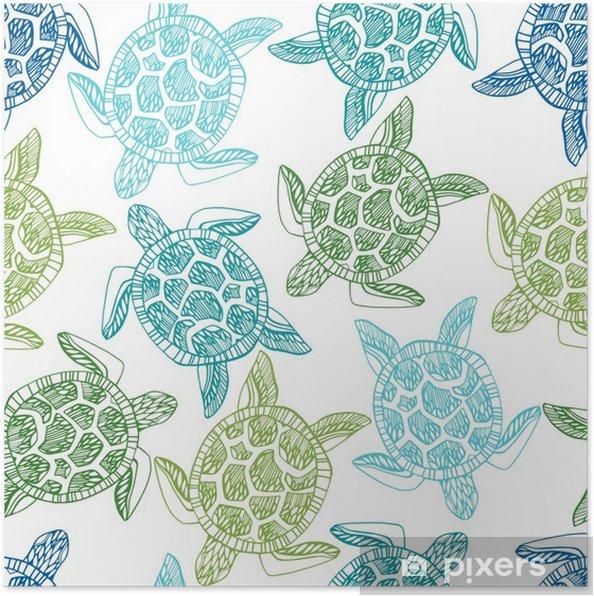 Poster Modèle sans couture avec les tortues de mer. - Animaux