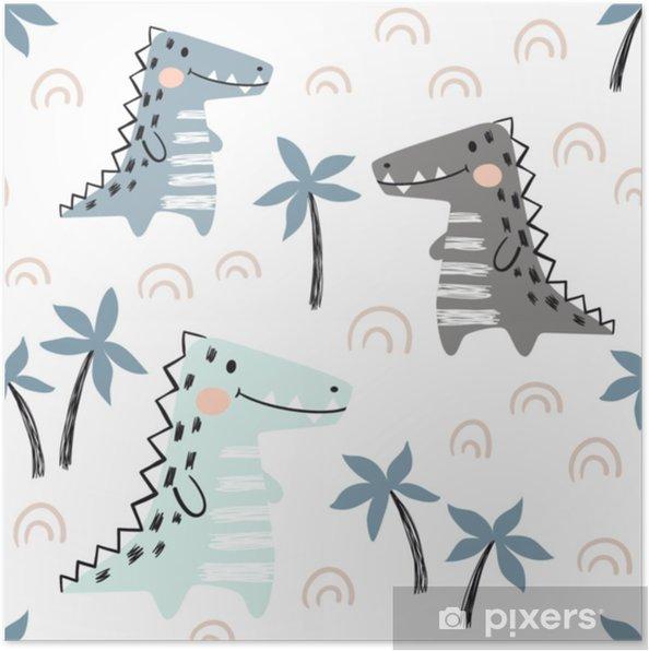 Poster Modèle sans couture bébé crocodile. dinosaure impression mignonne scandinave. - Ressources graphiques