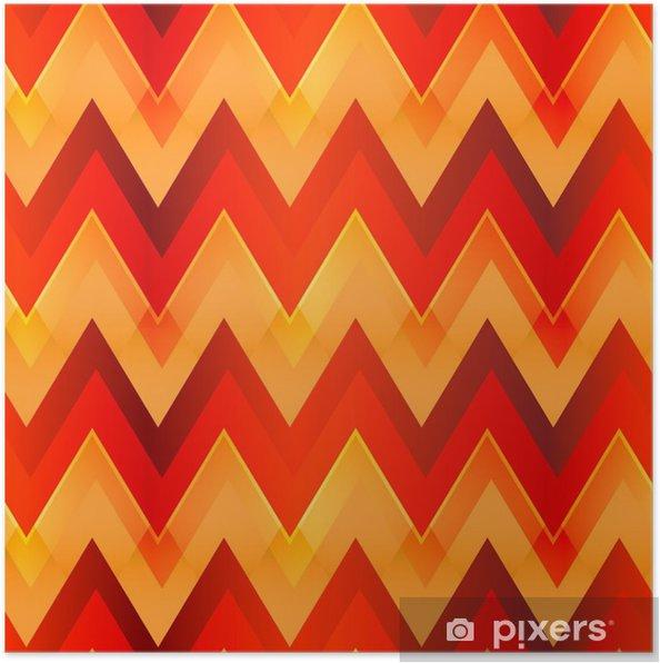 Poster Modèle sans couture de couleur chaude zigzag • Pixers® - Nous ...