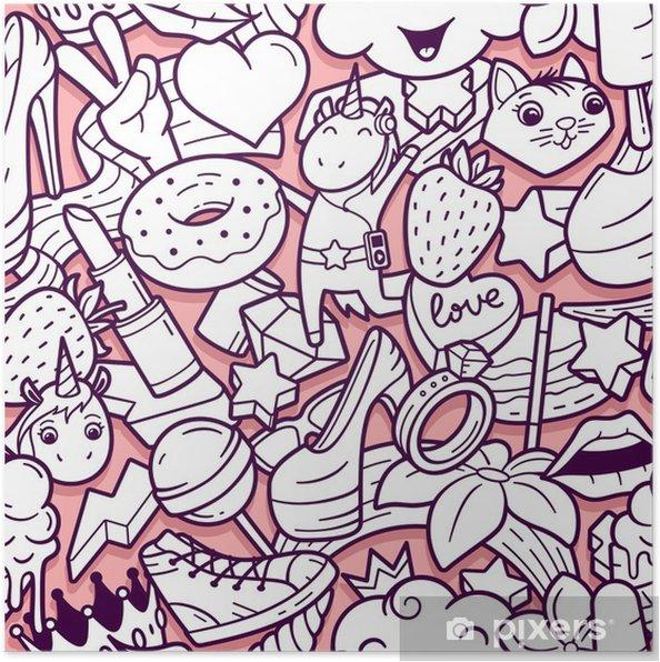 Poster Modele Sans Couture De Graffiti Avec Des Icones De Ligne De Style De Vie Urbain Fond De Vecteur Abstraite Doodle Fou Collage De Style De