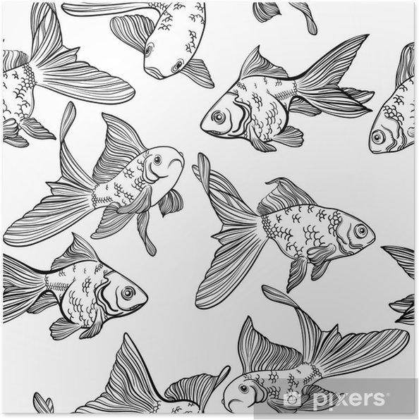 Poster Modèle Sans Couture De Vecteur Avec Limage Dun Poisson Poisson Rouge Et Perche Poisson Linéaire Pour Les Livres à Colorier