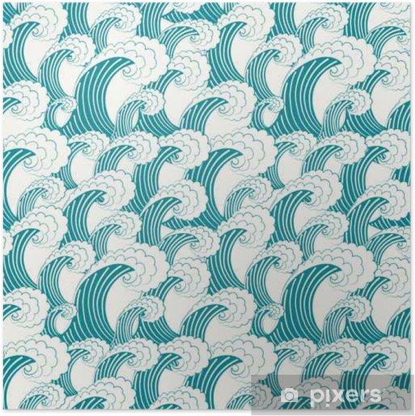 Poster Modèle vecteur tiré par la main transparente. fond bleu élégant et moderne avec une structure de répéter les grosses vagues pendant la tempête. Illustration dans le style japonais traditionnel. - Ressources graphiques