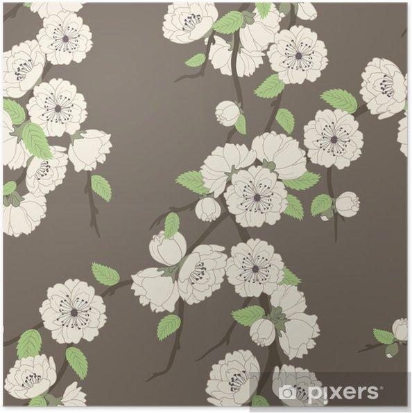 Poster Modèle vectoriel sans soudure avec la branche sakura - Fleurs