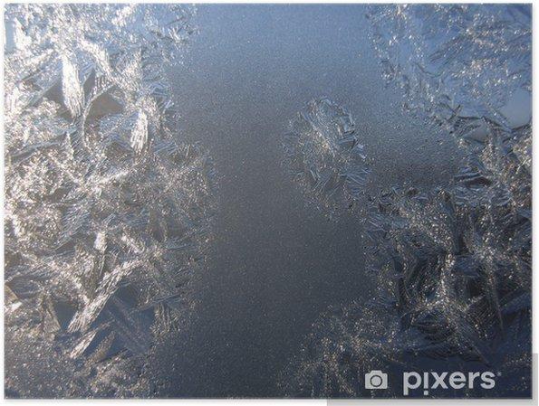 Póster Modelo escarchado en ventana del invierno - Estaciones