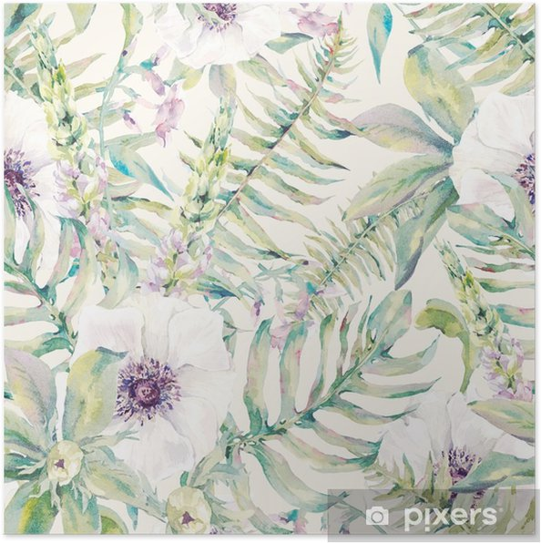 Póster Modelo inconsútil de la hoja de la acuarela con helechos y flores - Plantas y flores