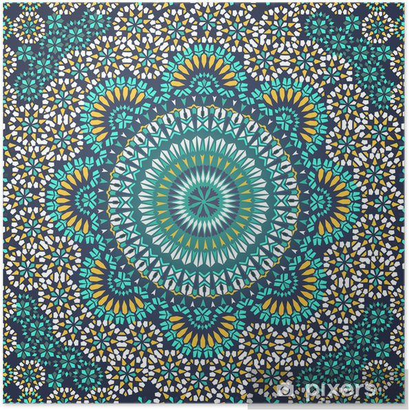Póster Modelo inconsútil en estilo étnico mosaico. - Mosaico