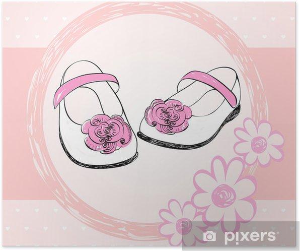 14e6aad3152 Poster Moderiktiga skor för små flickor i en ram. • Pixers® - Vi ...