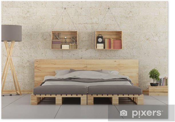 Modern bedroom with pallet bed on brick wall Poster