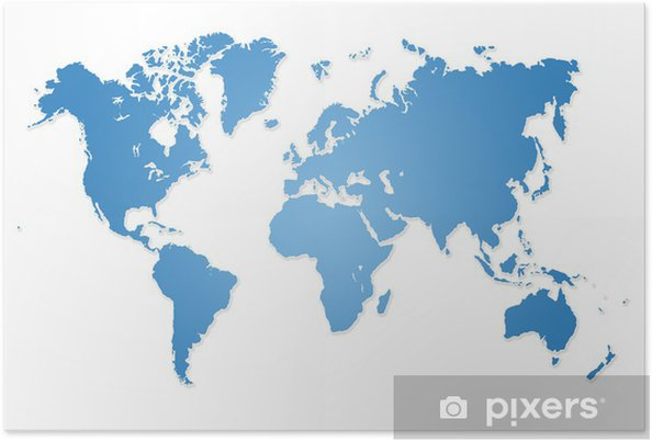 Modern World Map Poster on