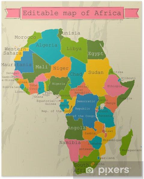 Carte Afrique Avec Pays.Poster Modifiable Carte De L Afrique Avec Tous Les Pays