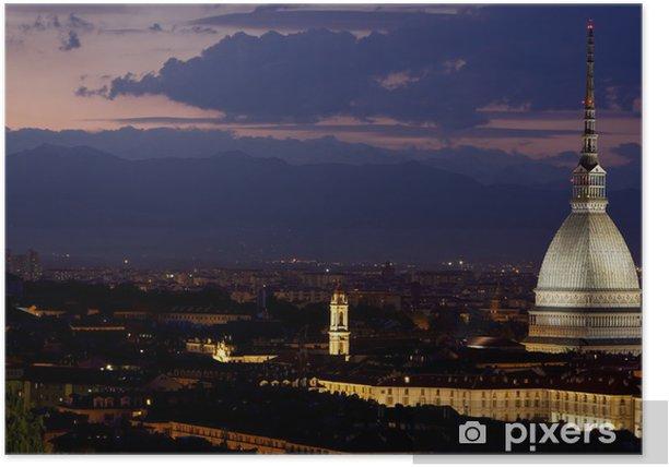 Poster Mole Antonelliana di notte, Turin (Piémont), Italia - Europe