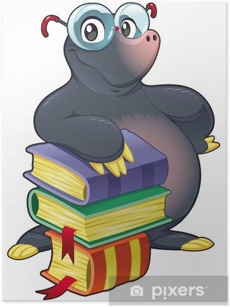 Poster Mole Avec Des Livres Dessin Anime Et Caractere Vectoriel Isole