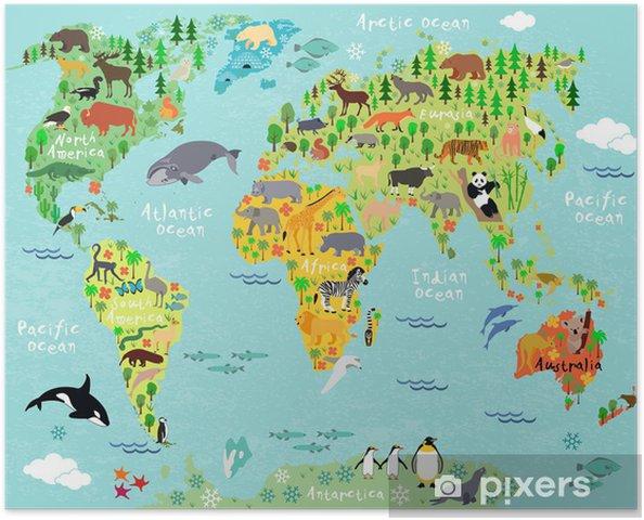 Poster Monde de carte - Animaux marins