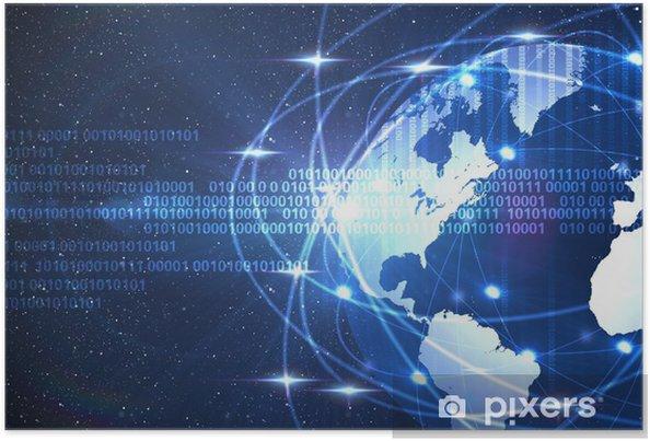 Poster Monde numérique sur un fond bleu d'espace sombre - Signes et symboles