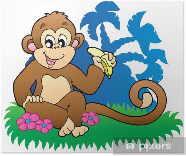 Poster Monkey banana manger près de palmiers - Arbres et feuilles