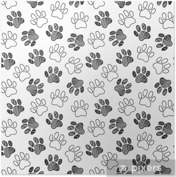Monochrome Black And White Dog Cat Pet Animal Paw Foot Hand Drawn Ink Sketch Seamless Pattern Texture Background Vector Poster