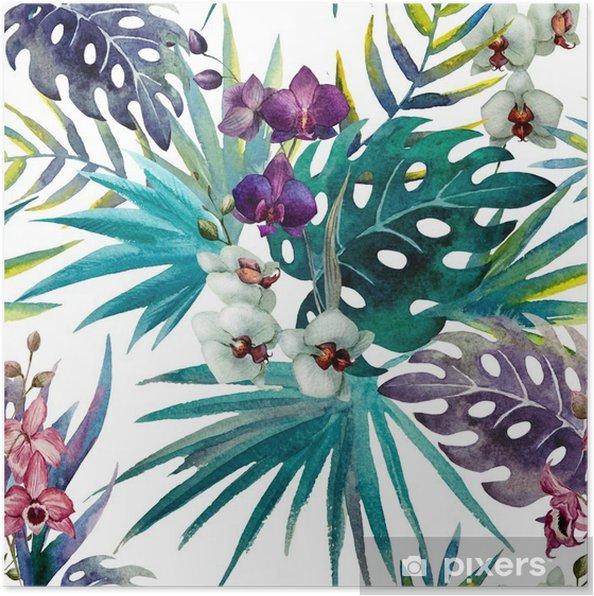Poster Mönster orkidé hibiskus lämnar vattenfärg tropikerna - iStaging