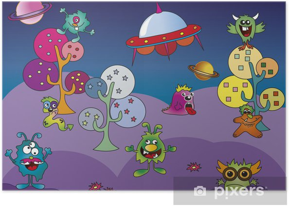 Poster Monstre monde - Espace