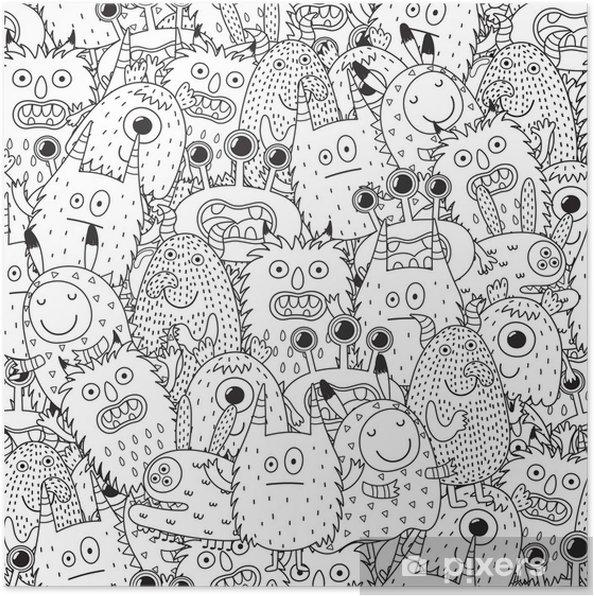 Póster Monstruos divertidos de patrones sin fisuras para colorear ...