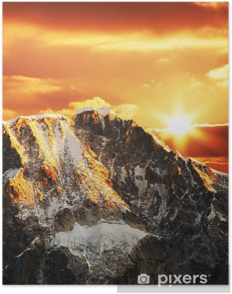 Poster Montagne cordillères sur le coucher du soleil - Montagne
