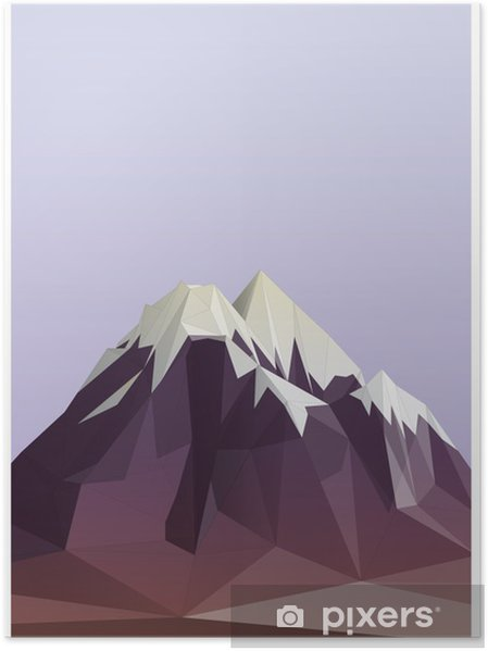 Poster Montagne illustration de style low-poly - Sports d'hiver