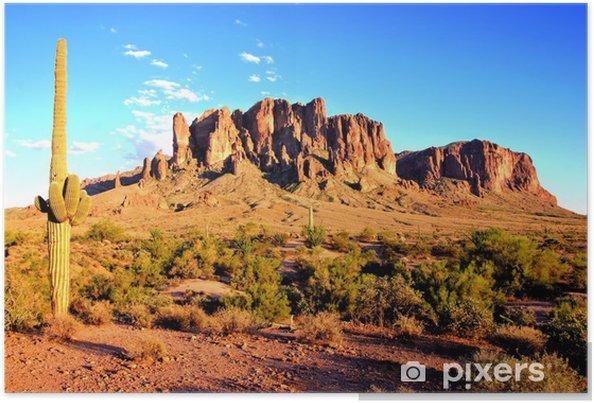 Póster Montañas de la superstición y el desierto de Arizona al atardecer - Desierto