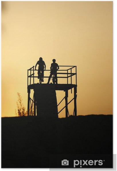 Poster Montez au coucher du soleil II - Sports d'extérieur