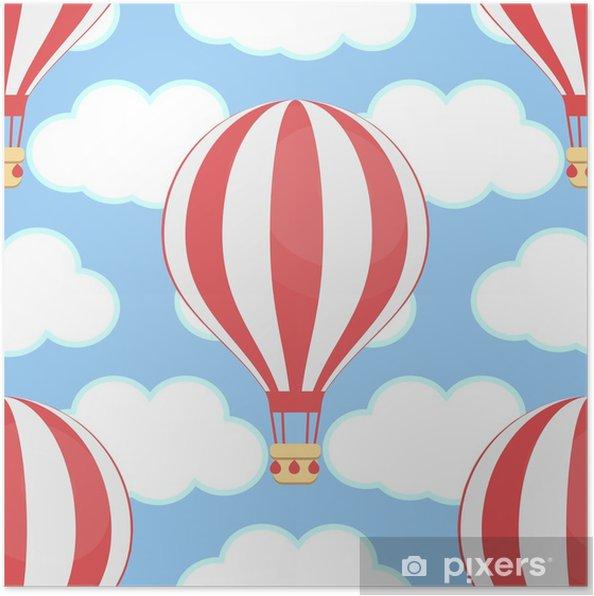 Poster Montgolfière, ciel, nuages, sans soudure - Industrie